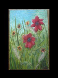 Gras, Feld, Malerei, Blumen