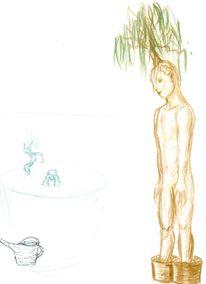 Mutant, Zeichnung, Skizze, Blumentopf