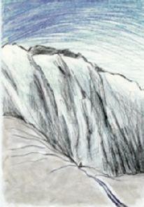 Berge, Winter, Abseits, Zeichnung