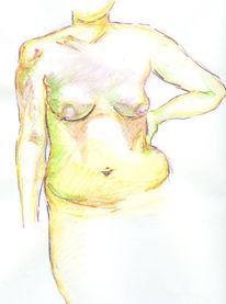 Frau, Weiblich, Brust, Grün
