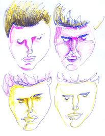 Orange, Zeichnung, Mann, Rosa