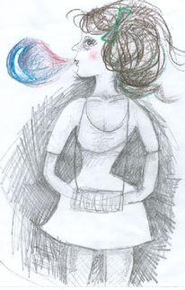 Braun, Träumereien, Bleistiftzeichnung, Mädchen