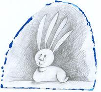 Osterhase, Tiere, Hase, Bleistiftzeichnung