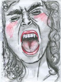Frau, Rot schwarz, Gesicht, Vampir