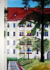 Landschaft, Malerei, Hof, Haus