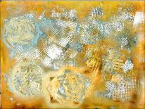 Fossilien, Ammonit, Abstrakt, Mischtechnik