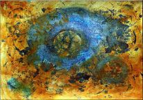 Fossilien, Abstrakt, Mischtechnik, Ammonit