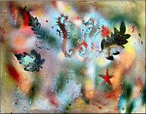 Abstrakt, Fossilien, Acrylmalerei, Mischtechnik