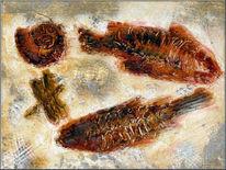Stillleben, Malerei, Fossilien, Ammonit