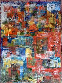 Malerei, Abstrakt, Acrylmalerei, Diptychon