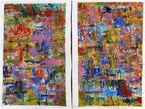 Farben, Acrylmalerei, Abstrakt, Spachtel