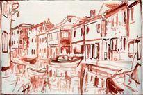 Venedig, Hafen, Skizze, Malerei