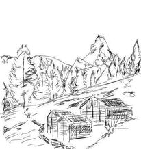 Skizze, Malerei, Acrylmalerei, Matterhorn