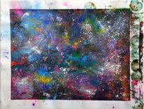 Acrylmalerei, Spachtel, Pigmente, Spayfarbe