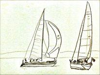 Malerei, Segel, Skizze, Zeichnung