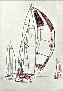 Malerei, Segelschiff, Skizze, Zeichnung