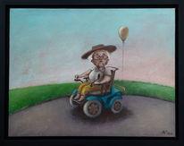 Rollstuhl, Dame, Heim, Pflegeheim