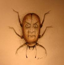 Käfer, Surreal, Kopf, Zeichnung