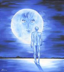 Mond, Akt, Blau, Mann