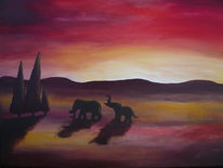 Elefant, Sonnenuntergang, Acrylmalerei, Rot