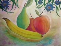 Obst, Stillleben, Aquarellmalerei, Banane