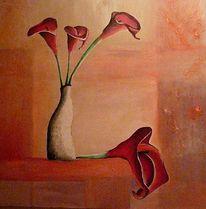 Stillleben, Rot, Calla, Malerei