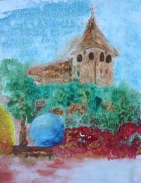 Aquarellmalerei, Kirche, Landschaft, Brunnen