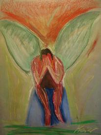 Traurig, Engel, Figur, Malerei