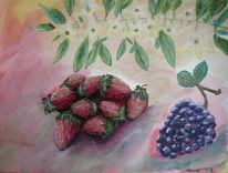 Traube, Blüte, Aquarellmalerei, Erdbeeren