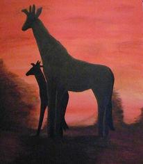 Afrika, Giraffe, Landschaft, Acrylmalerei