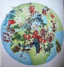 Weltkugel, Kontinent, Menschen, Aquarellmalerei