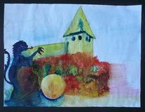Löwe, Aquarellmalerei, Brunnen, Landschaft