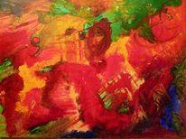 Rot, Abstrakt, Drache, Acrylmalerei