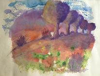 Farben, Aquarellmalerei, Baum, Sonnenuntergang