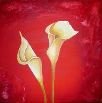 Blumen, Acrylmalerei, Rot, Blüte