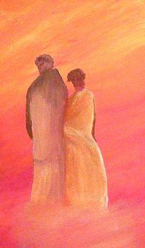 Romantik, Rot, Paar, Malerei