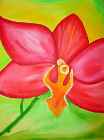 Malerei, Stillleben, Blüte, Rot