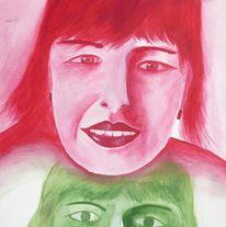 Grün, Kopf, Figural, Rot