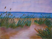 Pastellmalerei, Sonne, Dünen, Strand