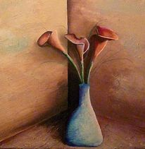 Acrylmalerei, Blüte, Calla, Blumen