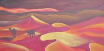 Kamel, Wüste, Landschaft, Acrylmalerei
