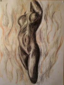 Rötel, Aktmalerei, Malerei, Fantasie