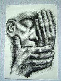Hände, Schmerz, Kohlezeichnung, Verlust
