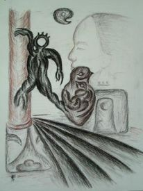 Gesicht, Weg, Zeichnung, Schmerz