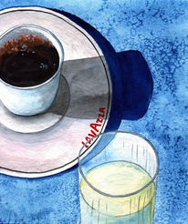 Wasser, Aquarellmalerei, Glas, Blau