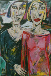Expressionismus, Figur, Malerei, Paar