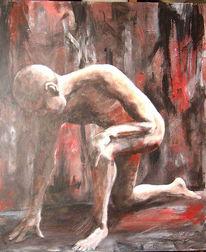 Weiß, Malerei, Rot schwarz, Akt