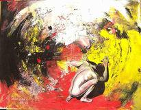 Weiß, Rot schwarz, Figural, Malerei