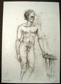 Stehen, Männlich, Akt stehend männlich, Zeichnung