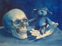 Schädel, Malerei, Blau, Stillleben